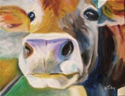 Barnyard Animal Paintings - Curious Cow by Donna Tuten