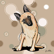 Whimsical Illustration Posters - Curious German Shepherd Poster by Kim Niles