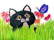 Kitten Drawings - Curious Kitten and Butterfly by Nick Gustafson