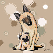 Pug Digital Art Posters - Curious Latte Dots Duo Poster by Kim Niles