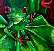 Rain Painting Framed Prints - Curious Tree Frog Framed Print by Patti Schermerhorn