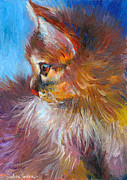 Feline Art Prints - Curious Tubby Kitten painting Print by Svetlana Novikova