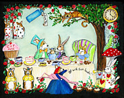 Mad Hatter Painting Posters - Curiouser and Curiouser Poster by Cathy Santarsiero