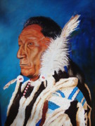 Cowboys And Indians Painting Framed Prints - Curley Bear Framed Print by James Morley
