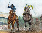 Triple Crown Prints - Curlin - Comin home at the Preakness Print by Leisa Temple