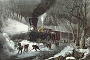 Snowy Scene Paintings - Currier and Ives by American Railroad Scene