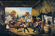 Barn Dance Posters - Currier & Ives: Barn Dance Poster by Granger