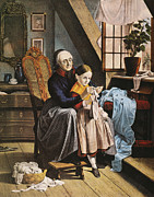 Granddaughter Posters - Currier & Ives: Grandmother Poster by Granger
