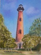 Rust Pastels Posters - Currituck Lighthouse NC Poster by Julie Brugh Riffey