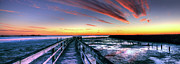 Currituck Posters - Currituck Sound Sunset Panorama Poster by Dan Carmichael