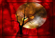 Haunted  Digital Art Originals - Curtained by the Light of the Pale Moon by Jessica Grandall