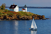 New England Lighthouse Digital Art Prints - Curtis Island Lighthouse - D002652b Print by Daniel Dempster