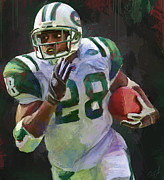 Jets Mixed Media Framed Prints - Curtis Martin Framed Print by Duane Tomaszewski