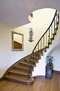 Wooden Stairs Posters - Curved Staircase Poster by Andersen Ross