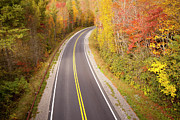 Yellow Line Photo Prints - Curvy Road Blue Ridge Parkway, North Carolina Print by Lightvision, LLC