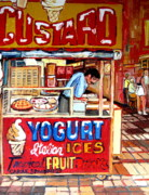 Out-of-date Prints - Custard Cart Print by Carole Spandau