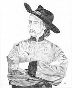 Indian Wars Drawings Prints - Custer Print by Dennis Larson