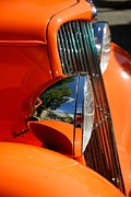 Custom Automobile Digital Art Posters - Custom Ford motor car abstract in bright orange Poster by John Kelly