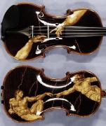 Romanian Pyrography Originals - Custom Gliga Violin 5 by Dino Muradian