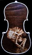 On Paper Pyrography Originals - Custom Gliga Violin 8 by Dino Muradian