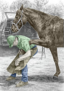 Shoe Drawings - Custom Made - Farrier and Horse Print color tinted by Kelli Swan