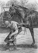 Shoe Drawings - Custom Made - Farrier with Horse Art Print by Kelli Swan