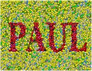 Skittles Candy Framed Prints - Custom PAUL Mosaic Skittles Candies Framed Print by Paul Van Scott