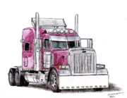Veteran Drawings Prints - Custom Peterbilt Truck Cab Print by Dan Poll