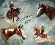 Horse Paintings - Custom Riding Arena Welcome Sign by Kim Corpany