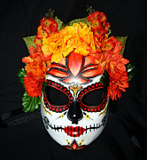 Day Sculpture Posters - Custom Sugar Skull Mask 2 Poster by Mitza Hurst