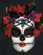 Day Sculpture Posters - Custom Sugar Skull Mask 3 Poster by Mitza Hurst