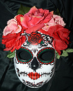 Los Angeles Sculpture Metal Prints - Custom Sugar Skull Mask Metal Print by Mitza Hurst