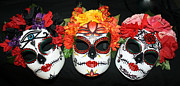 Day Sculpture Posters - Custom Trio Sugar Skull Masks Poster by Mitza Hurst