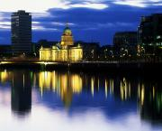 Sunset Reflecting In Water Prints - Customs House And Liberty Hall, River Print by The Irish Image Collection