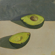 Life Painting Framed Prints - Cut Avocado Framed Print by John Holdway