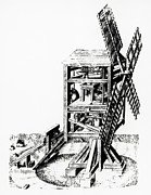 Grain Mill Prints - Cut-away Artwork Of A Windmill For Grinding Corn Print by
