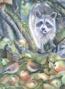 Raccoon Painting Posters - Cut It Out Poster by Patricia Pushaw
