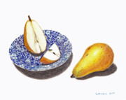 Food And Beverage Drawings Originals - Cut Pear by Loraine LeBlanc