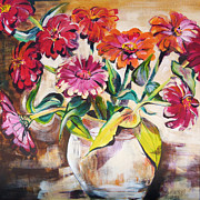 Suzanne Willis Metal Prints - Cut Zinnas Metal Print by Suzanne Willis