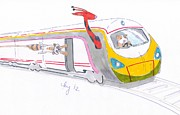 Passenger Mixed Media Prints - Cute Cartoon high speed train and animals Print by Mike Jory