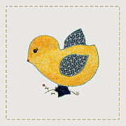 Tracie Kaska Mixed Media Prints - Cute Country Style Baby Chick Print by Tracie Kaska