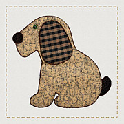 Tracie Kaska Mixed Media Prints - Cute Country Style Gingham Dog Print by Tracie Kaska