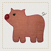 Applique Posters - Cute Country Style Pink Plaid Pig Poster by Tracie Kaska