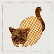 Tracie Kaska Mixed Media Prints - Cute Country Style Quilt Cat Print by Tracie Kaska