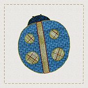 Applique Posters - Cute Country Style Quilt Ladybug Poster by Tracie Kaska