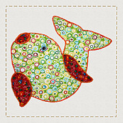 Tracie Kaska Mixed Media Prints - Cute Country Style Quilted Fish Print by Tracie Kaska