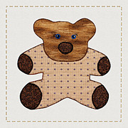 Tracie Kaska Mixed Media Prints - Cute Country Style Teddy Bear Print by Tracie Kaska