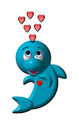 First Love Framed Prints - Cute Dolphin with Hearts Framed Print by Rose Santuci-Sofranko