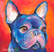 Dog Portraits Prints - Cute French bulldog painting prints Print by Svetlana Novikova
