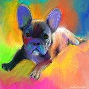 Dog Greeting Cards Framed Prints - Cute French Bulldog puppy painting Giclee print Framed Print by Svetlana Novikova